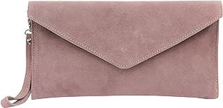 AMBRA Moda Damen Wildleder Envelope Clutch Handschlaufe Handtasche Schultertasche Unterarmtasche Damentasche Veloursleder ...