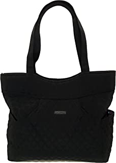 Vera Bradley Pleated Tote Zip Top Bag Stamped Micro Black