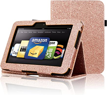 ACdream Kindle Fire HD 7 2012 Case, Folio Leather Wallet Case for Kindle Fire HD 7 2012 Version with Auto Sleep Wake Function, (Rose Gold Star of Paris)