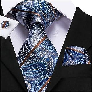 ربطة عنق للرجال ربطة عنق زرقاء ربطة عنق من الحرير بيزلي أزياء رسمية لحفل زفاف للرجال نمط كلاسيكي Hanky أزرار أكمام (اللون:...