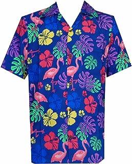 Hawaiian Shirt 37 Mens, Flamingo Leaf Print Beach Aloha Party Casual Mens Shirt