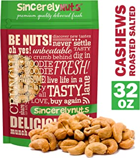 Sincerely Nuts – Whole Cashews Roasted and Salted | Two Lb. Bag | Deluxe Kosher Snack Food | Healthy Source of Protein, Vitamin & Mineral Nutritional Content | Gourmet Quality Vegan Cashew Nut