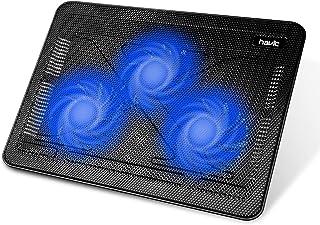 """havit HV-F2056 15.6""""-17"""" Laptop Cooler Cooling Pad - Slim Portable USB Powered (3 Fans), Black/Blue"""