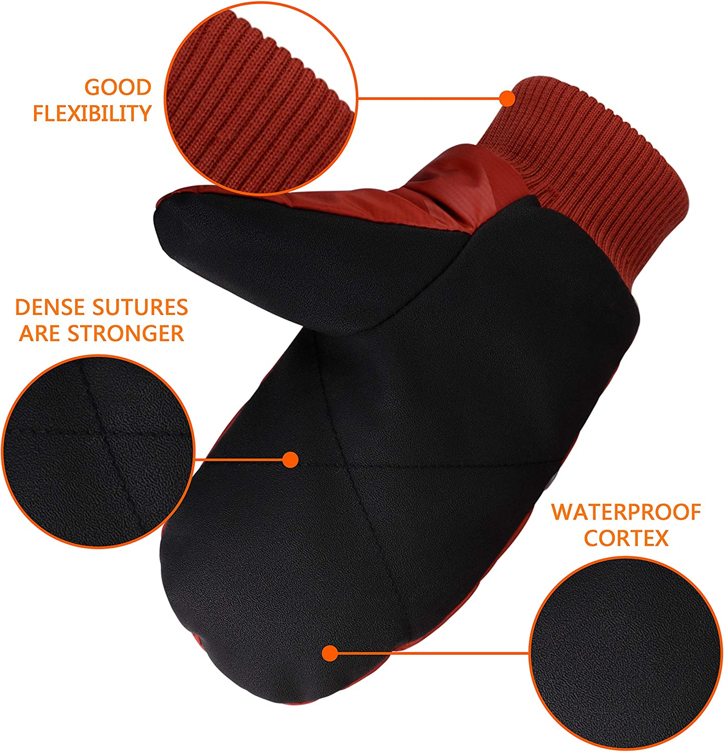 Red Warm Windproof Down Gauntlet Gloves for Snowmobile Shoveling Snow Work Winter Mens Mittens Skiing Gloves