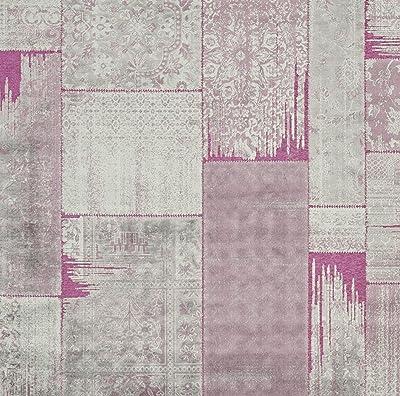 Tapis rectangulaire d'intérieur de transition tissé , collection Paradis, PAR100, en violet / fuchisa, 122 X 170 cm pour le salon, la chambre ou tout autre espace intérieur par SAFAVIEH.