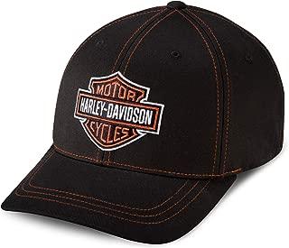 Men's Contrast Stitch Logo Stretch Cap, Black