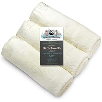 Brooklyn Bamboo | Bath Towels | Beautiful & Unique 3 pc set | Soft, Absorbent, Antifungal, Hypoallergenic | 28 inch X 55 inch | Off-White