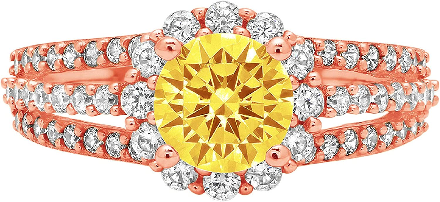 1.92ct Brilliant Round Cut Halo Solitaire Canary Yellow Ideal VVS1 Simulated Diamond CZ Engagement Promise Statement Anniversary Bridal Wedding with accent Ring 14k Pink Rose Gold