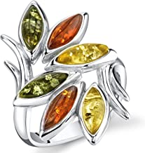 Baltic Amber Leaf Branch Ring Sterling Silver Multiple Colors Sizes 5-9