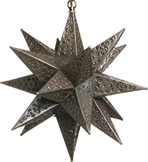 12 Inch Mexican Hanging Tin Star Light - Flower Cut