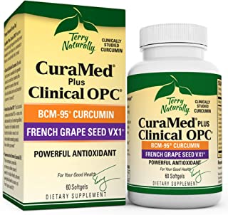 Terry Naturally CuraMed Plus Clinical OPC - 60 Softgels - BCM-95 Curcumin & French Grape Seed VX1 Supplement - Supports Br...