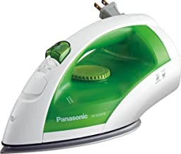 Panasonic Dry and Steam Iron with Titanium Coated Soleplate, Precision Temperature Dial and Safety Auto Shut Off – 1200 Watt – NI-E250TR (White/Green)