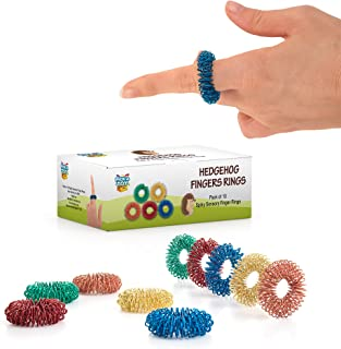 Stress Relief Fidget Sensory Toys Set -10 Small Quiet Metal Antistress Fingers Rings for Men, Women, Adults, Teens & 5+ Children - Ideal for People with OCD, ADHD, ADD & Autism Sensory Desk Games