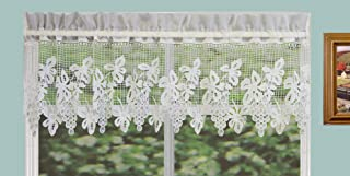 Creative Linens Grapes Knitted Lace Kitchen Curtain Valance Ivory 1PC