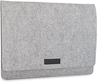 laptop sleeve 14 zoll leder KANVASA Filz Sleeve 14 Zoll Laptop & 15 Zoll MacBook Pro - Premium Laptoptasche Hülle Laptophülle Filztasche grau mit schwarzem Leder - Tasche für Notebook Ultrabook von Samsung Acer Lenovo Dell UVM.