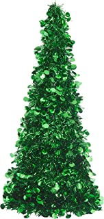 Large Green Tinsel Christmas Tree Table Centerpiece | Party Decoration