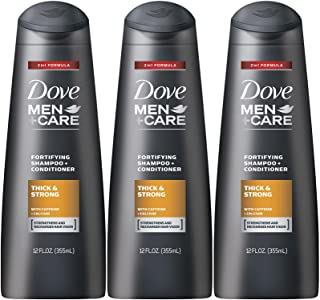 Dove Men + Care Thick and Strong Fortifying 2-in-1 Shampoo + Conditioner, 12 Ounce (Pack of 3)