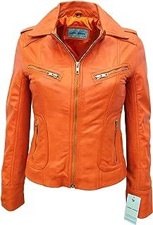 Smart Range Rider' Ladies Tangerine Orange Biker Style Genuine Real Nappa Leather Jacket