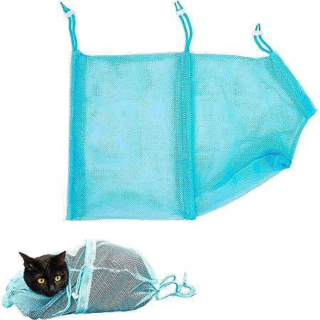 猫用 みのむし袋 猫 ネット おちつくネット 猫袋 [ 猫の爪切り/耳掃除/シャンプー などの際にご使用ください!] 猫爪切り 猫ネット 猫用ネット 猫用品 【Red Square】 (ブルー)