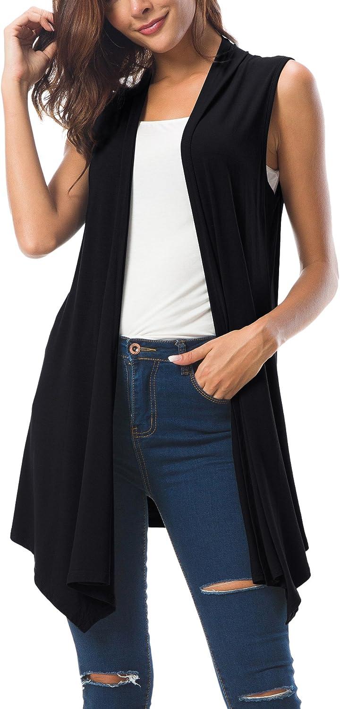 Women's Sleeveless Draped Open Front Cardigan Vest Asymmetric Hem
