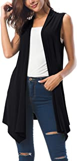 Women's Sleeveless Draped Open Front Cardigan Vest...