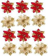CLISPEED 24 Pcs Christmas Glitter Poinsettia Flowers Christmas Wreath Decorations Glitter Artificial Poinsettia Christmas ...