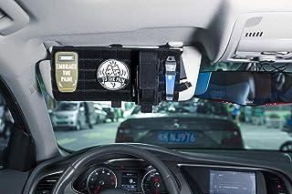 OneTigris Sonnenblende Tasche Multifunktions Auto Nylon Organizer Aufbewahrungstasche mit MOLLE Bände für Tickets, Kreditkarten, Führerschein|MEHRWEG Verpackung (Schwarz)