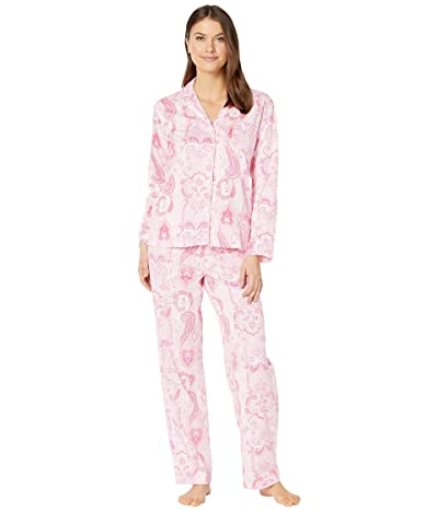 LAUREN Ralph Lauren Cotton Rayon Sateen Woven Long Sleeve Pointed Notch Collar Long Pants Pajama Set (Pink Print) Women