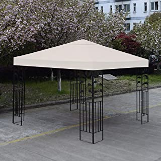 Ivory Single Tier Patio Sun Shade 10x10 Ft Garden Canopy Gazebo Replacement Top One Tier Party UV Protection Sun Block