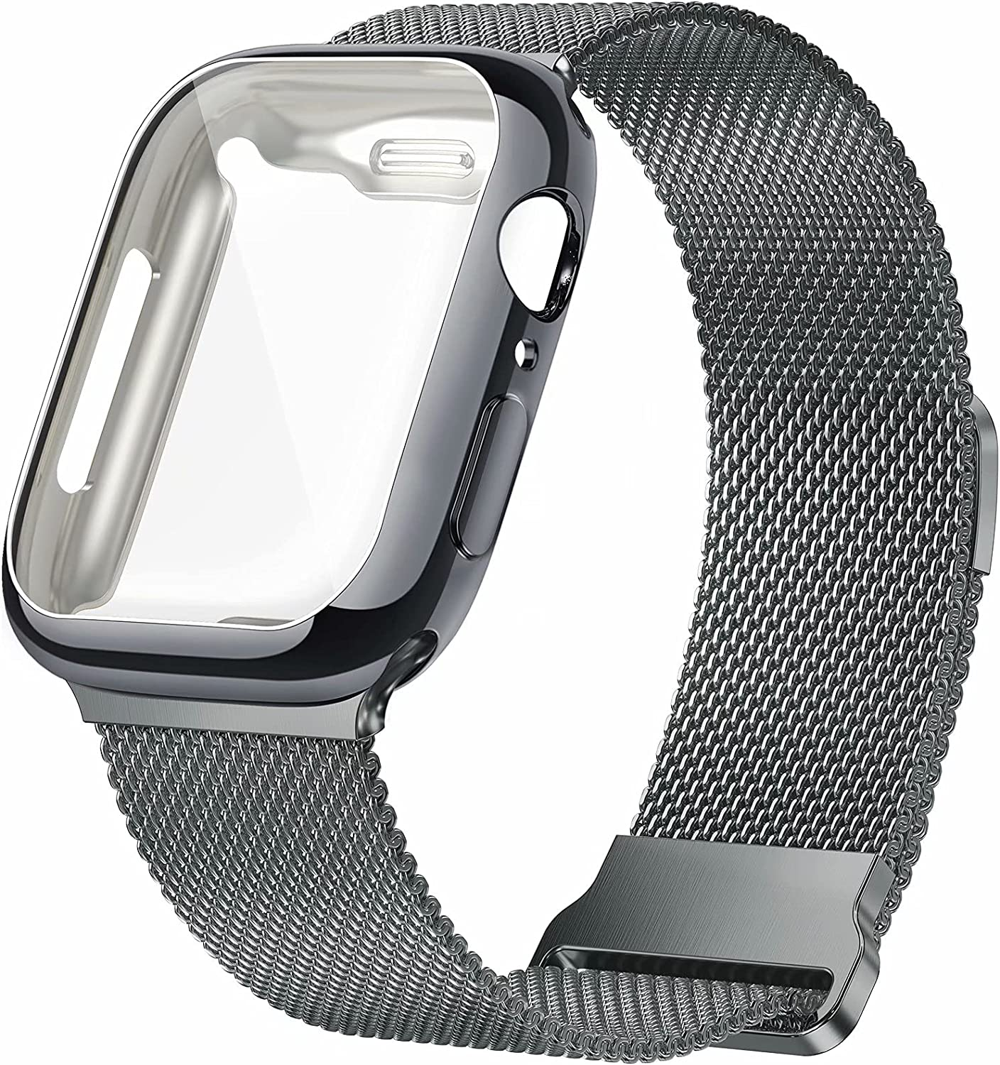 JuQBanke Metal Magnetic Bands Compatible for Apple Watch Band 44mm with Case, Stainless Steel Milanese Mesh Loop Replacement Strap Compatible with iWatch Series SE 6/5/4/3/2/3 for Women Men,Space Gray