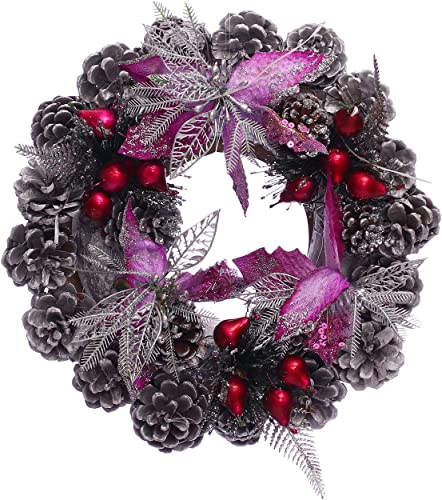 2021 OPTIMISTIC 12 Inch Pine Artificial outlet sale Christmas Wreath Garland with Ball Ornament and Flower outlet sale Gifts for Christmas Party Decor Front Door Window Hanging Decoration Wreath (Purple) outlet online sale
