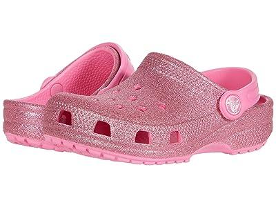 Crocs Kids Classic Glitter Clog (Toddler/Little Kid/Big Kid) (Pink Lemonade) Girls Shoes