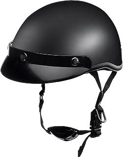 Delroy Jethelm Motorradhelm Helm Motorrad Mopedhelm für Damen und Herren, Braincap, Helmschale aus Polycarbonat, waschbare Polster, inklusive abnehmbarem Schirm, Schnellverschluss, S XXL
