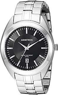 Armitron Men's 20/5387BKSV Date Function Silver-Tone Bracelet Watch