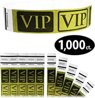 "Tyvek Wristbands - Goldistock VIP Deluxe Metallic Gold 1,000 Count - ¾"" Arm Bands - Paper-Like Party Armbands - Heavier Tyvek Wrist Bands = Upgrading Your Event"