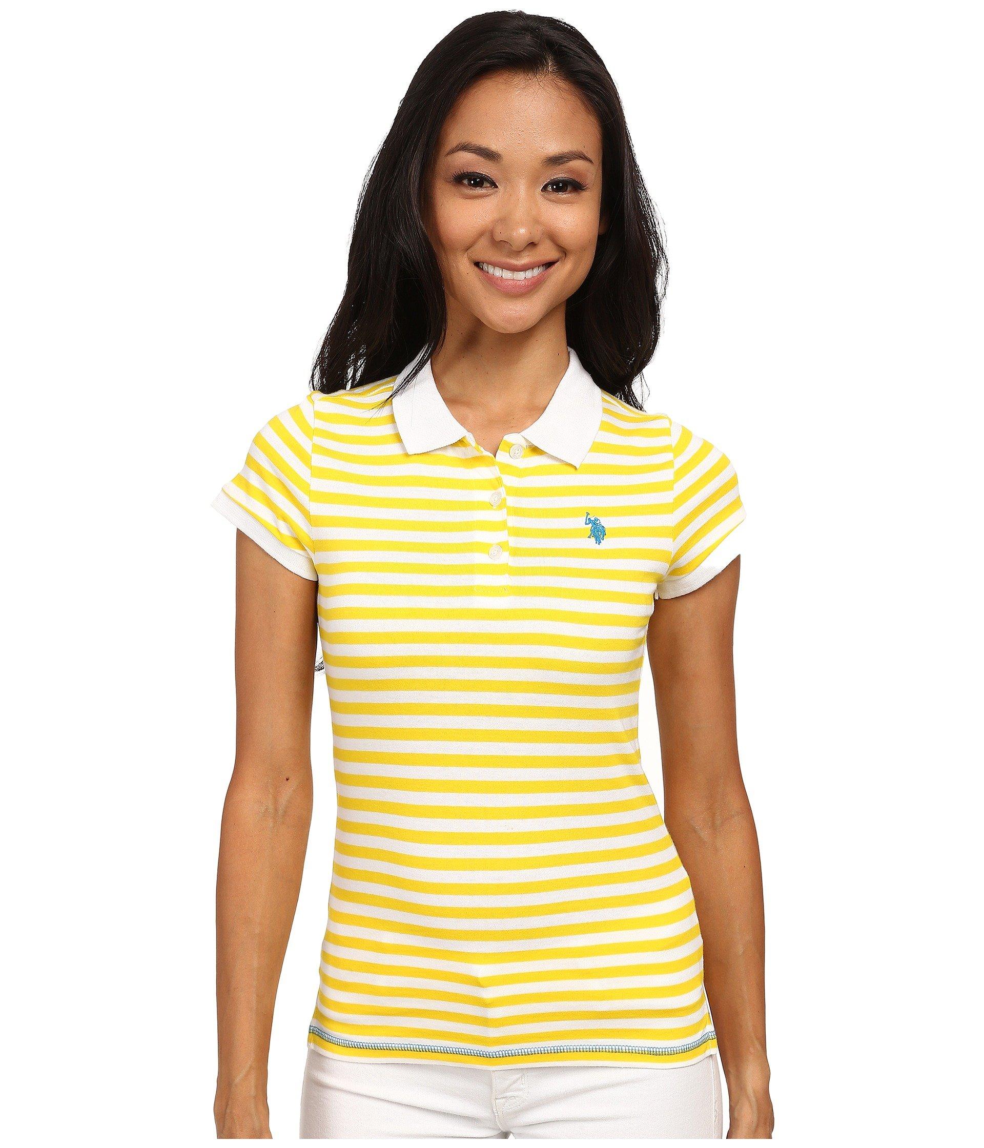 Camiseta Tipo Polo para Mujer U.S. POLO ASSN. Tonal Stripe Slub V-Neck T-Shirt  + U.S. POLO ASSN. en VeoyCompro.net