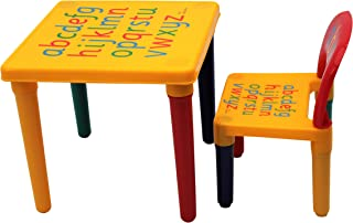 Table and Chair Set ABC Alphabet Childrens Plastic Kids Toddlers Childs Gift HOME HUT