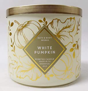 B Bath and Body Works White Pumpkin New for 2019-3 Wick Candle (Pumpkin, Autumn Spice w Cinnamon) Made W Essential Oils