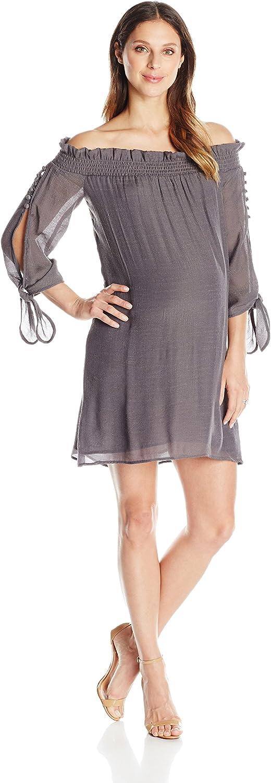 Maternal America Womens Juliet Off Shoulder Maternity Dress Maternity Dress