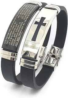Jewelry 2 Pcs Set Men's Stainless Steel and Rubber Bracelet,Religious Black Rubber Cross Bracelet Link