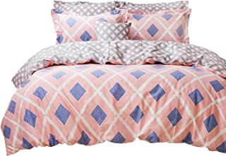 FADFAY Target Chic Bedding 7 Pieces Duvet Cover Sheet Set Fashionable Pink Stripe Blue Geometry Summer Bedding 100% Cotton Hypoallergenic,King Size