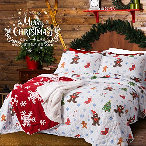 Christmas Bedspreads And Quilts.Kids Christmas Bedding Set Amazon Com