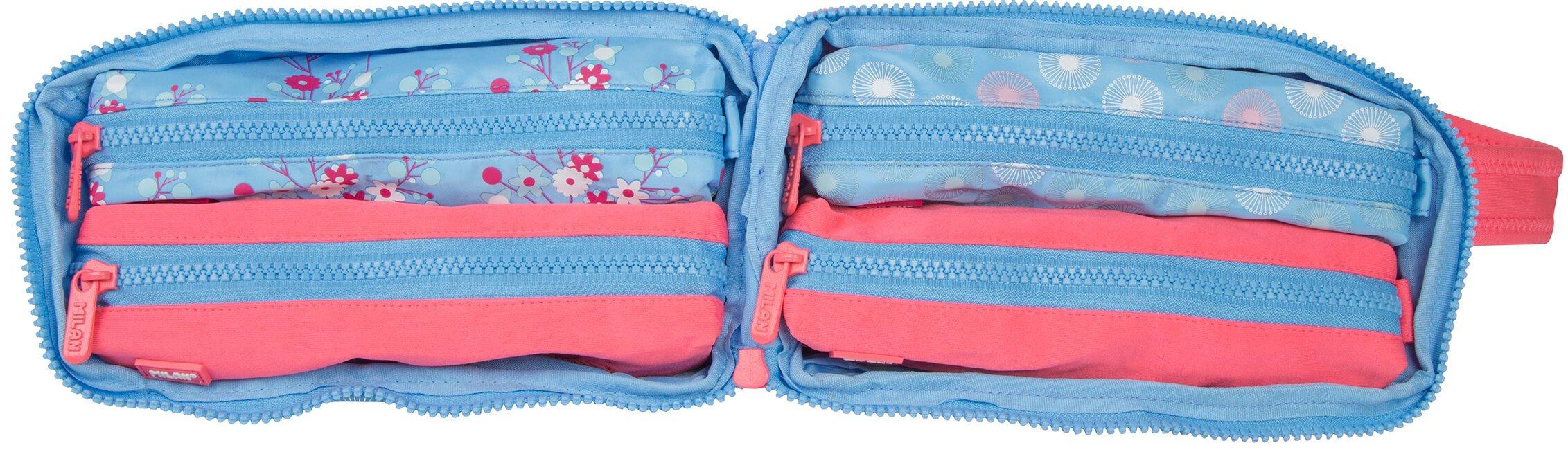Milan Blossom - Estuche con 4 compartimentos y material escolar, para 31 unidades: Amazon.es: Oficina y papelería