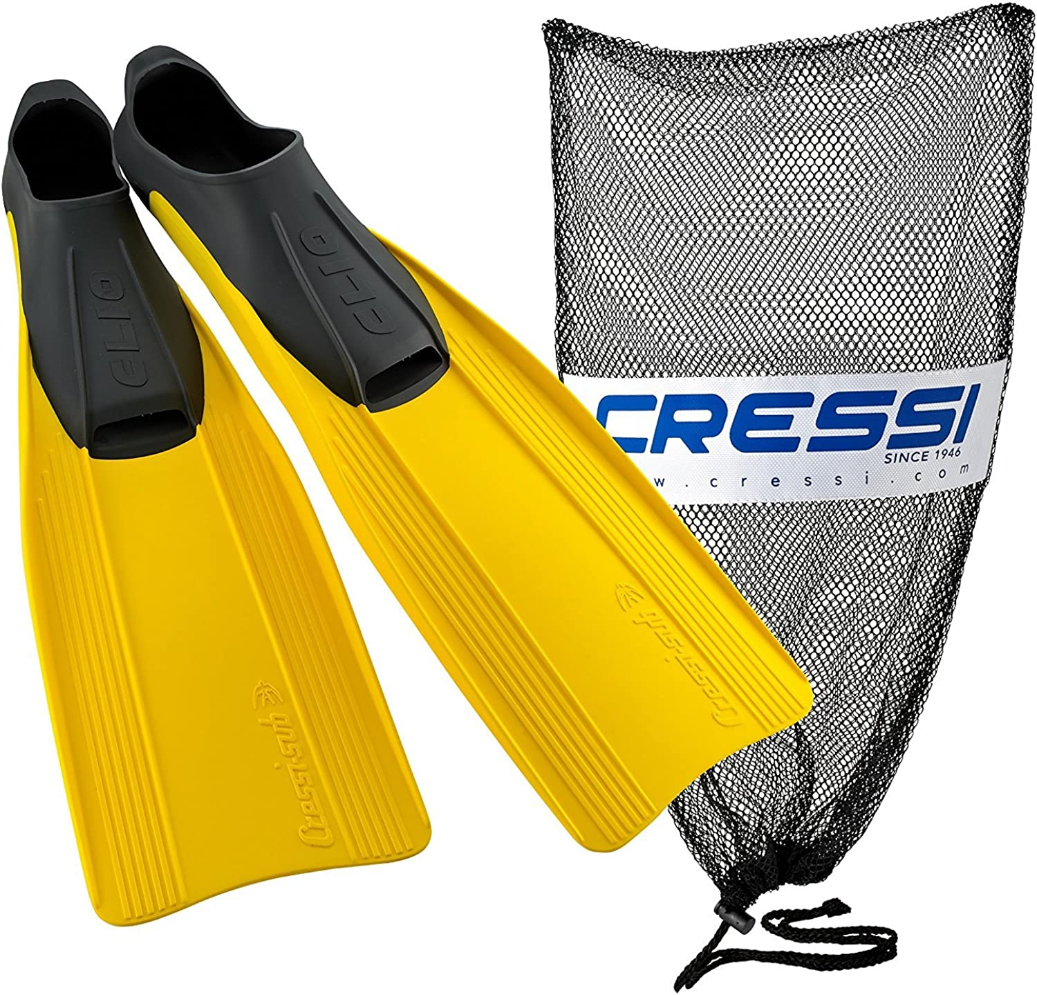 Cressi Clio Full Made in  Foot Fins with Bag, Yellow, EU Size 39 40 - US Men's 5.5 6.5