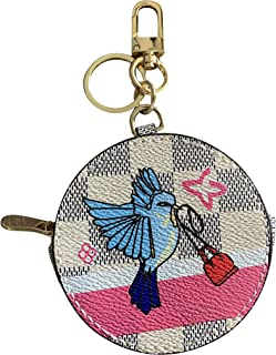 Popular zip closure round coin purse adorable animals pastel dove Damier canvas bag charms keychain