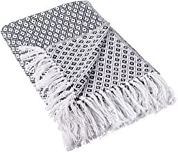 DII Rustic Farmhouse Cotton Diamond Blanket Throw with Fringe for Chair, Black, 50 x 60