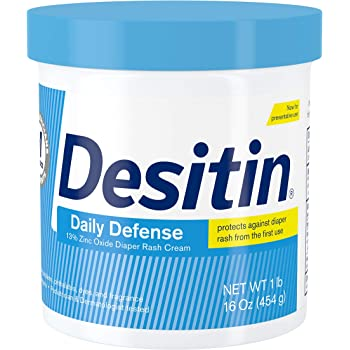 Desitin Daily Defense Baby Diaper Rash Cream with Zinc Oxide to Treat, Relieve & Prevent diaper rash, Hypoallergenic, Dye-, Phthalate- & Paraben-Free, 16 oz