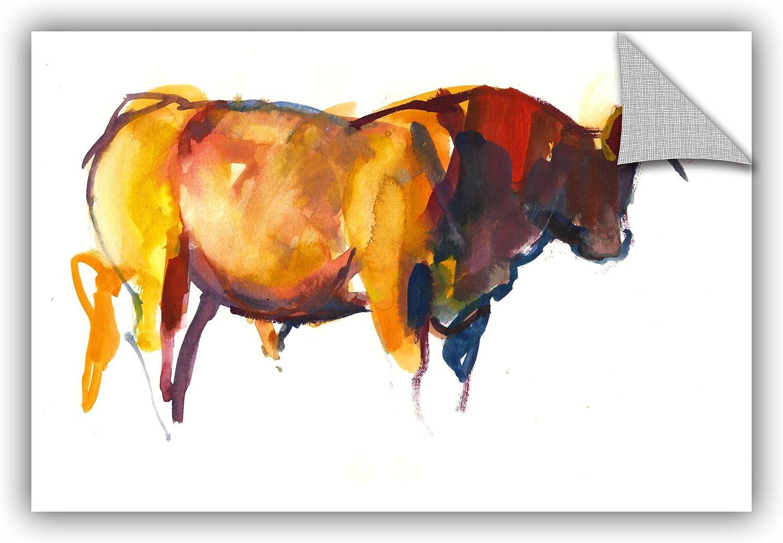 ArtWall Mark Adlington's Sunset Bull Removable Wall Art Mural, 12 by 18