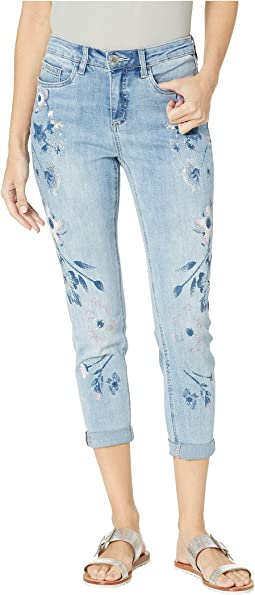 Statement Denim Painted Margaritas Olivia Roll-Up Crop in Cool Blue
