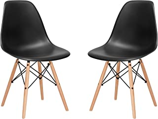 Poly and Bark Modern Mid-Century Side Chair with Natural Wood Legs for Kitchen, Living Room and Dining Room, Black (Set of 2)